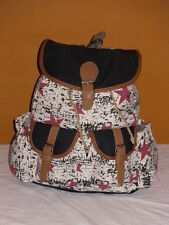 Boho Canvas Drawstring Back Pack Rucksack With 2 Front Pockets And Flapover.