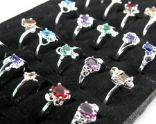 Wholesale Lots 10PCS Mixed Style Women Jewelry Silver Crystal Rings 6-9 #