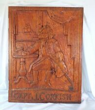 Antique Vintage Hand Carved Oak Wooden Pub Tavern Sign Capt J Corkish Ship