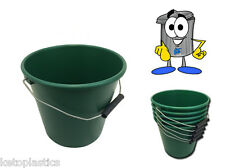 PACK OF 10 GREEN PLASTIC CALF FEED BUCKETS, HEAVY DUTY WITH METAL HANDLE