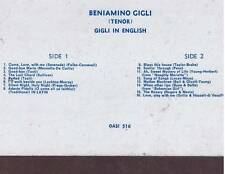 Beniamino Gigli - GIGLI IN ENGLISH - LP rare OASI 516 sealed sigillato