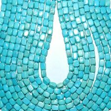 T411k SLEEPING BEAUTY Blue-Green Teal Turquoise 4x2mm Square Tube Beads 18""
