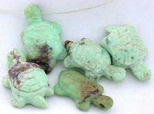 ONE 1 1/4 to 1 1/3 Inch Turtle Natural Chrysoprase Carved Focal Bead Carving Gem