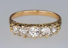 Victorian 18ct Gold 1.3ct Old European Cut Diamond Antique 5 Stone Ring ca 1890
