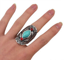 New tibet silver design red turquoise gemstone beachy boho joint Ring Adjustable