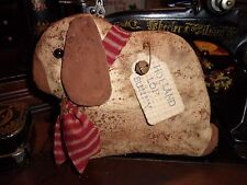 Primitive Grungy Holland Lop Bunny with Red Homespun Tie & Rusty Bell