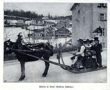 Winter in Tirol Grödener Schlitten Bilddokument von 1908