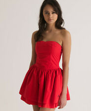 ** SUPERDRY** Red Strapless Summer Holiday Cruise Skater Dress UK 14 16 XL BNWT