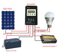 20A 12V/24V MPPT Solar Panel Charge Controller Solar Regulator 15-30% More Power