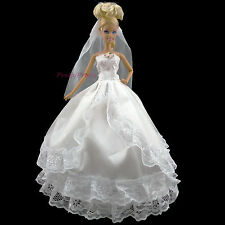 Handmade White Wedding Dress With Veil Party Gown Clothes For Barbie Doll #U95A