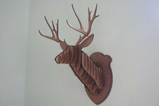 Large Wood Deer Head Wall Trophy *** FREE U.S. Shipping Included****