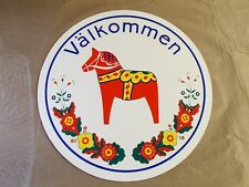 Swedish Dala Horse Valkommen Welcome Hex Sign Plaque 15""