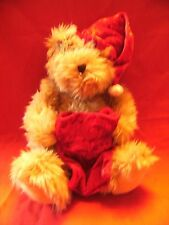 "M&S  Christmas Teddy Bear soft toy red  hat/sack 15"" approx preloved"