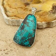 LARGE GENUINE TURQUOISE 925 SILVER PENDANT INDIAN JEWELLERY