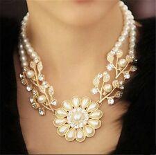 Perlen Collier Kette Halskette Perlencollier Trachtemschmuck Perlenkette Blume