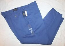 Polo Ralph Lauren Big and Tall Mens Blue Flat-Front Chinos Pants NWT 46 B x 30