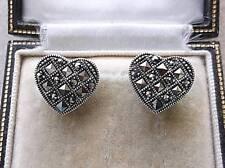 Quality Genuine Silver & Marcasite Heart Stud Earrings
