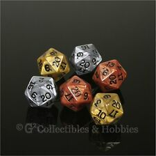 NEW Set of 6 Olympic D20 Dice Gold Silver Bronze RPG D&D Game Twenty Sided