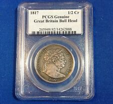 1817 GREAT BRITAIN ENGLISH BULL HEAD HALF CROWN 1/2 CR, PCGS GENUINE, SILVER