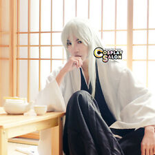 Bleach Ukitake Zyuusir Long Silver White Synthetic Straight  Anime Cosplay  Wig