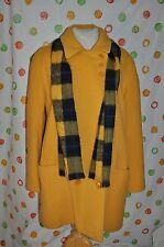 Vintage  Chic WOOL YELLOW double breasted DRESS  COAT WOMENS Medium USA + SCARF