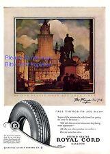 Royal Cord Balloon Reifen USA Reklame 1927 Hotel Plaza New York Werbung ad