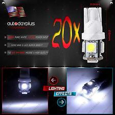20Pcs T10 168 194 2825 5-5050-SMD LED White Cluster Dash Light bulbs For Dodge
