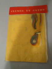 Figure Tennis Crest  ~ Vintage Crewel By Cathy Sealed! Personalize #133