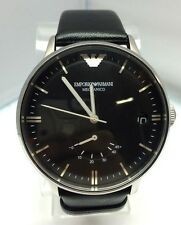 Emporio Armani Maccanico Mechanical Automatic Watch  Black Leather Band - Men's