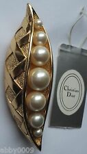 Vintage Christian Dior Gold Plated Peapod with 7 Faux Pearl Perfect Brooch Pin