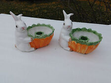 OCI Omnibus by  Fitz and Floyd Ceramic Bunny Rabbit & Carrot Candle Holder 1987