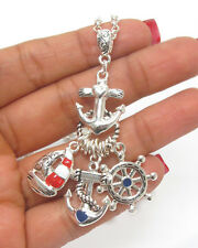 ANCHOR  SailBoat Ship Wheel Silver Red White Blue Charm Necklace