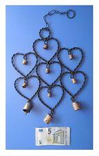 Pendente in metallo 7 cuori 10 campanelle, artigianato indiano