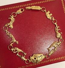 10k Yellow Gold Diamond Noah's Ark Artisan Religious Cross Tennis Bracelet 7.25""