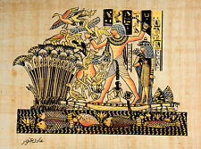 "Egyptian Papyrus - Hand Made - 16"" x 24 - Ancient Art -Lord Menna Hunting Birds"