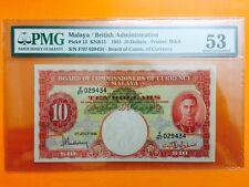 XT $ 10 F/97 029434 1941 MALAYA & BRITISH BORNEO PMG 53 ABOUT UNC *RARE *NICE