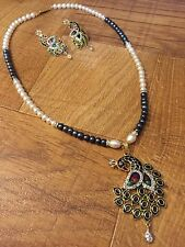 Ethnic Indian Pakistani Bollywood White Pearl Moti Necklace Pendant Earring Set