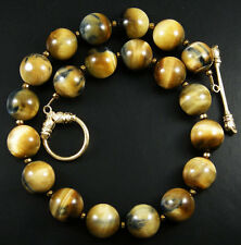 RARE NEW AFRICAN STONE! LARGE BLONDE BLUE TIGER EYE ROUND BEAD GOLD Necklace