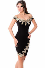 Abito cono aperto ricamato aderente Cerimonia Party Lace Applique Mini Dress M