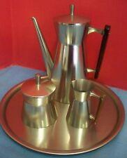 Vintage Pewter Tea Set Pot Sugar Creamer Round Tray Wood Handles Metawa Holland