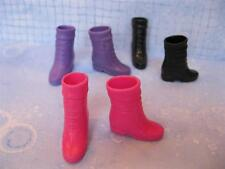 3 Barbie fashion outfit 1990s Basic Dark Pink/Black/Purple Cuff Boot Shoes Lot