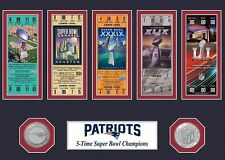 New England PATRIOTS  5x Super Bowl Tickets & Coins  Fridge Magnet 2.5 x 3.5
