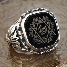 Seal of Solomon Talisman Ring Sterling Silver Black Onyx Handcrafted unique