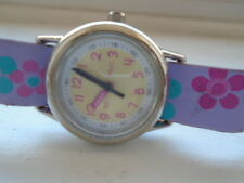 Girls wristwatch with a pink, lilac and turquoise floral strap, casual wear