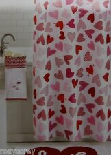 Valentine's Day White with Pink & Red Hearts Fabric Shower Curtain 70x70 NIP