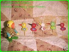 Lot of 5 Vintage German wood Erzgebirge Duck Cake Picks and Larger Pinecone Duck