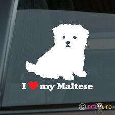 I Love My Maltese Sticker Die Cut Vinyl - puppy v2