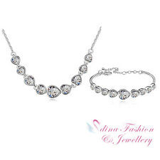 18K White Gold Plated Made With Swarovski Crystal Clear Hearts Set Jewellery