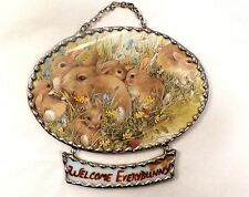 Stained Glass Welcome EveryBunny Bunny Rabbits Hanging Plaque - Easter - Lovely