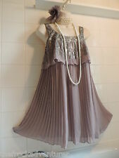 NEXT sz16 Vintage 1920's Sequin Deco Grey Pleat Flapper Charleston Gatsby DRESS